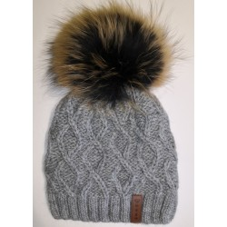 Zimná pletená vlnená čiapka šedá