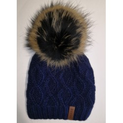 Winter knitted wool cap dark blue
