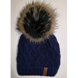 Zimná pletená vlnená čiapka tmavo modrá