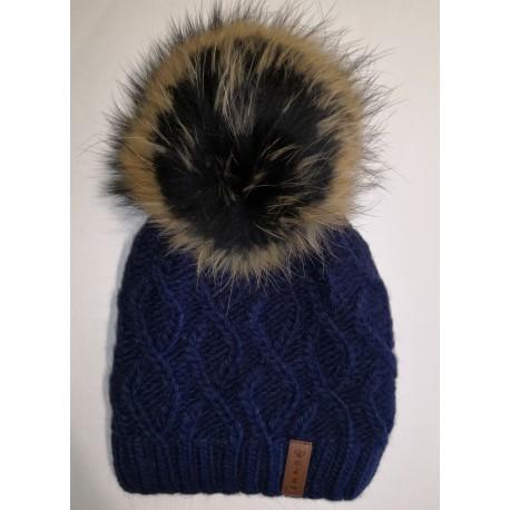 Zimní pletená vlněná čepice tmavě modrá