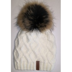 Winter knitted wool cap white 2
