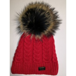 Zimní pletená vlněná čepice červená