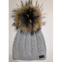 Winter knitted wool cap gray