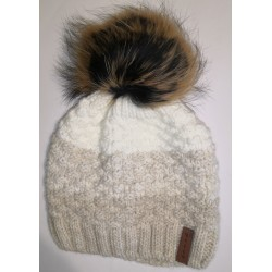 Winter knitted wool cap brown-white