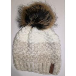 Zimní pletená vlněná čepice hnědo-bílá