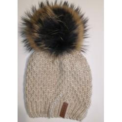 Zimná pletená vlnená čiapka béžová