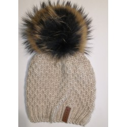 Zimní pletená vlněná čepice béžová