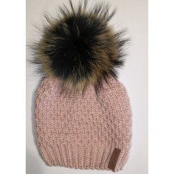 Winter knitted wool cap pink