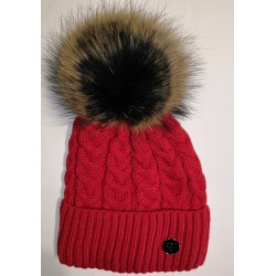 Winter knitted wool cap light-red
