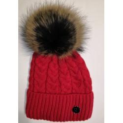 Zimní pletená vlněná čepice světle-červená
