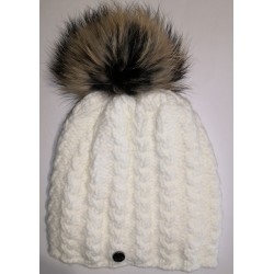 Zimní pletená vlněná čepice bílá 1