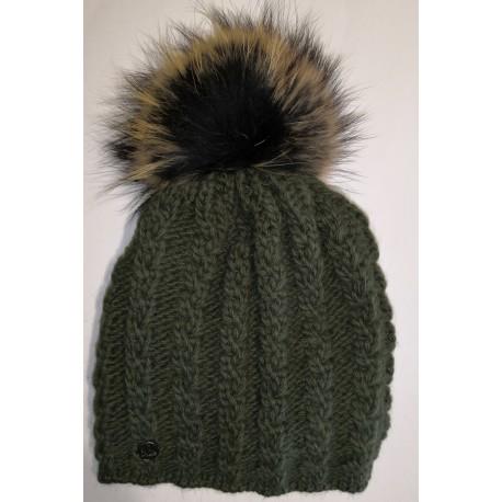 Zimní pletená vlněná čepice myslivecká zelená
