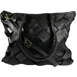 Lederhandtasche Vintage A208 schwarz