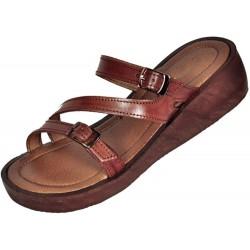 Dámske kožené sandále Tao s klinom