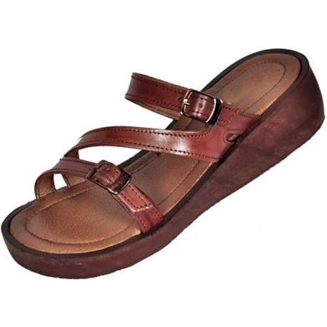 Women's leather sandals Tao on the wedge