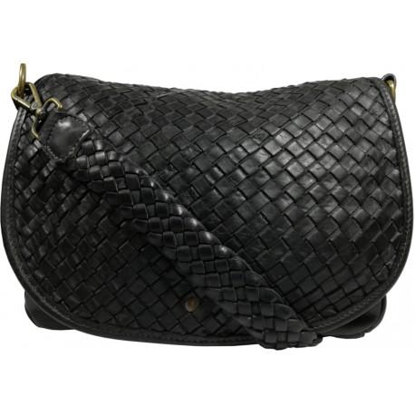 Leather handbag Vintage 5757A black