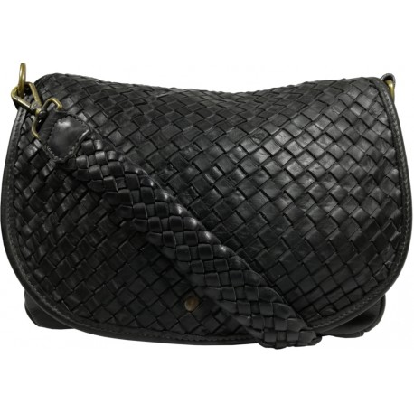 Lederhandtasche Vintage 5757A schwarz