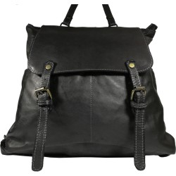 Vintage leather backpack A100 Black