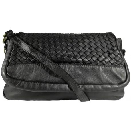 Lederhandtasche Vintage A269 schwarz