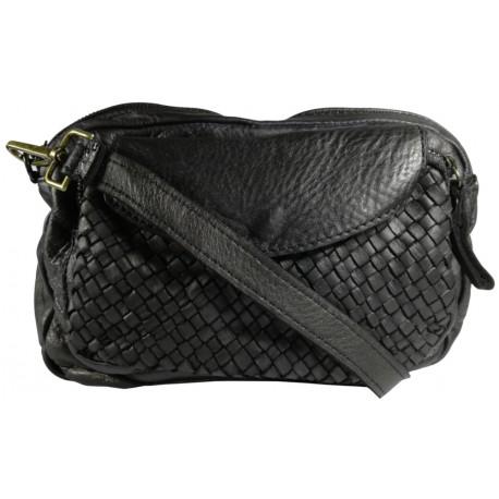 Lederhandtasche Vintage L6038 schwarz