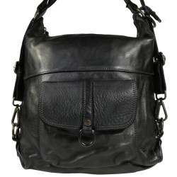 Vintage leather backpack 5720A Black