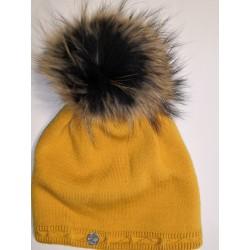 Zimní pletená vlněná čepice skořicová