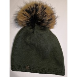 Winter knitted wool hat hunter green