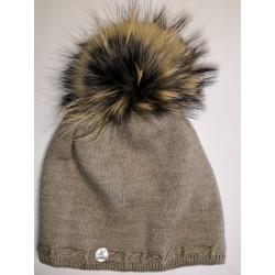 Zimná pletená vlnená čiapka svetlo hnedá