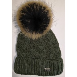 Winter knitted woolen hat - green