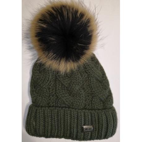 Zimní pletená vlněná čepice myslivecká-zelená