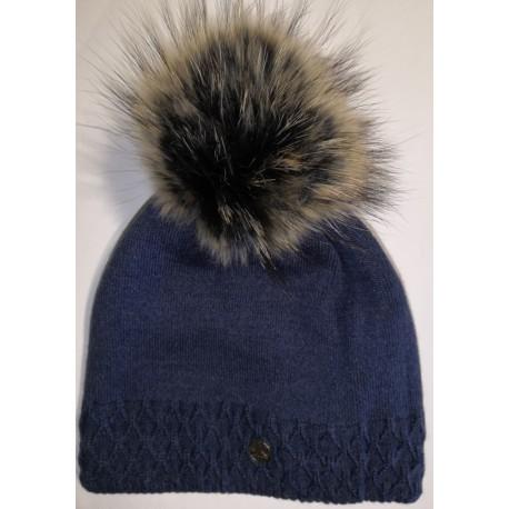Zimní pletená vlněná čepice tmavě-modrá