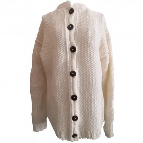 Dámsky pletený vlnený sveter biely