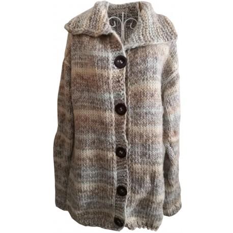 Dámsky pletený vlnený sveter svetlo sivý