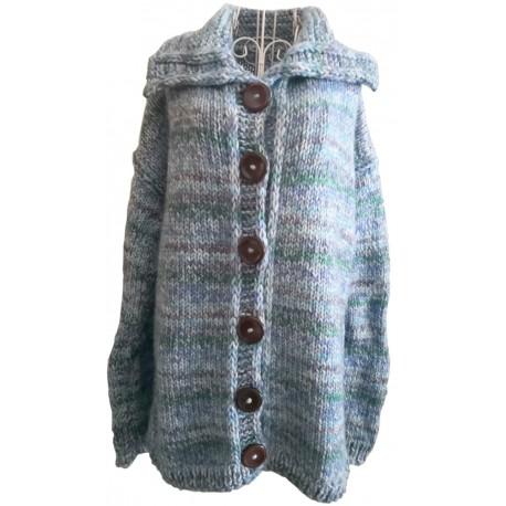 Dámsky pletený vlnený sveter sivomodrý