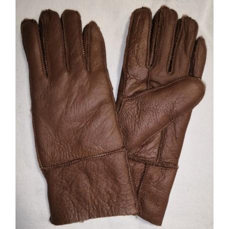 Zimní dámské kožené rukavice hnědá