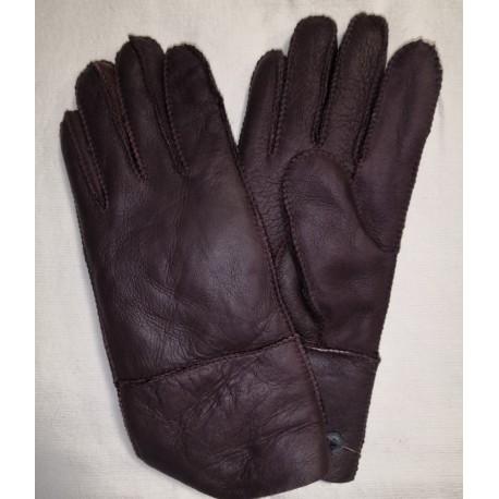Zimní dámské kožené rukavice červeno-fialovo hnědá