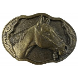 Dekorative Gürtelclip  Pferdekopf, Farbe Messing