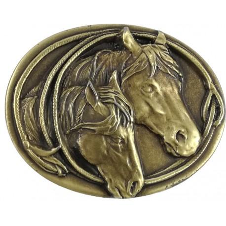 Decorative belt clip Horse couple, color brass