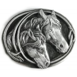 Decorative belt clip Horse couple, silver color