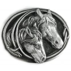 Ozdobná spona na opasek Koňský pár, barva stříbrná