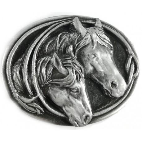 Decorative belt clip Horse couple, silver color