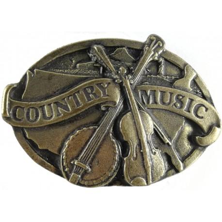 Ozdobná spona na opasek Country music, barva mosaz