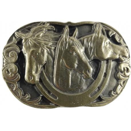 Decorative belt clip Three horses, color brass
