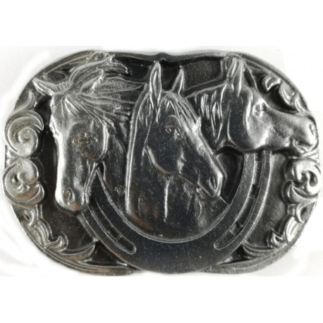 Decorative belt clip Three horses, silver color