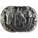 Dekorative Gürtelclip Drei Pferde, Silber Farbe