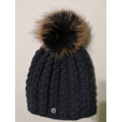 Zimní pletená vlněná čepice modrá
