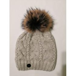 Zimní pletená vlněná čepice bílo-světle šedá