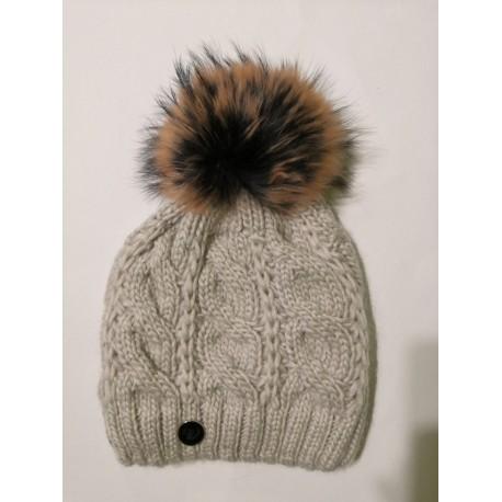 Zimní pletená vlněná čepice bílo-světle-šedá