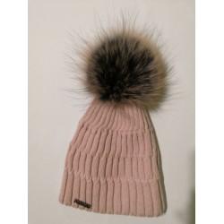Zimní pletená vlněná čepice světle růžová