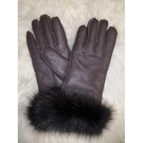 Luxusné dámske kožené prstové rukavice s jahňacie kožušinou a lemom 2